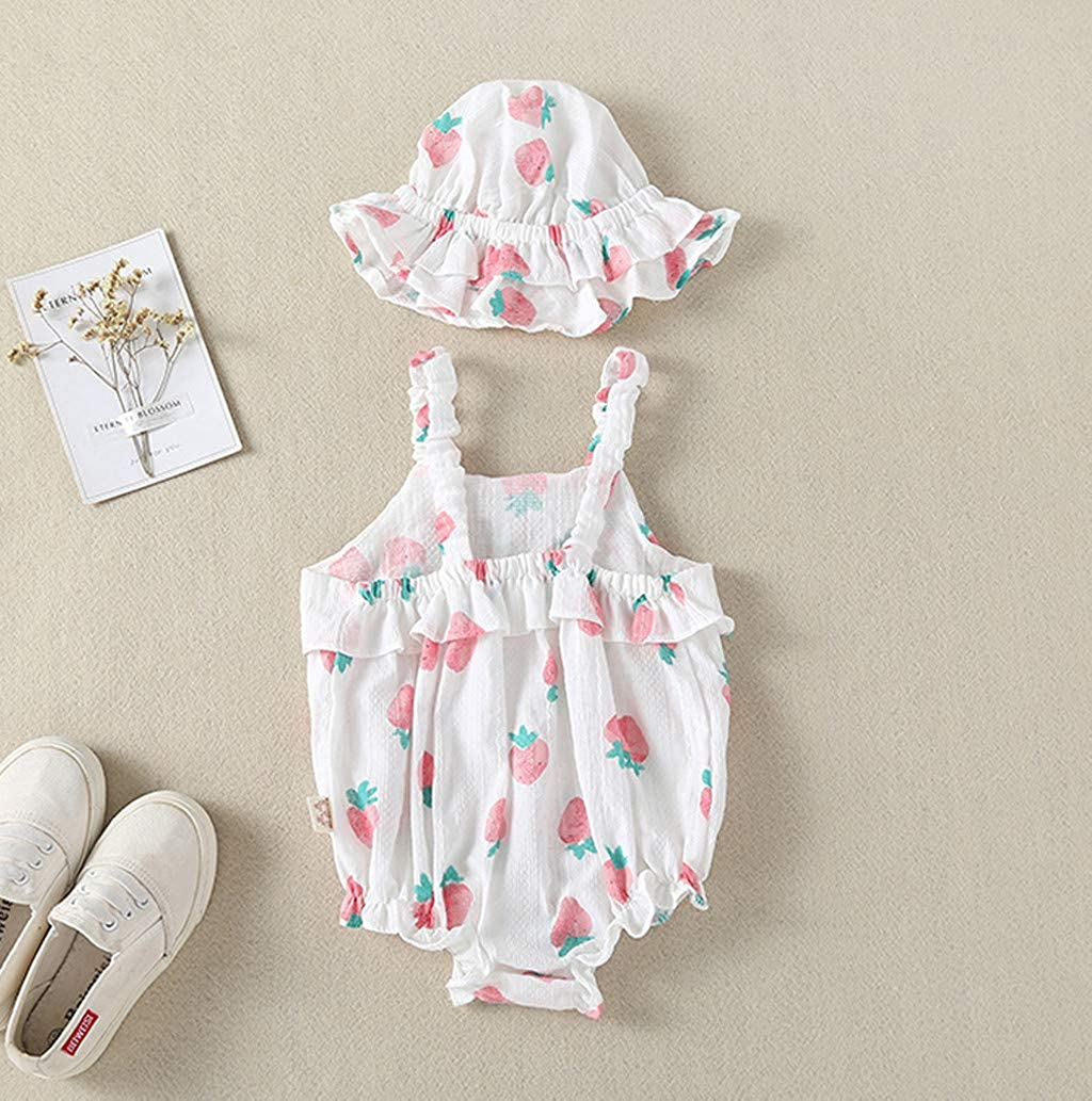 Baby Romper Clothes for Independence Day,Infant Toddler Girls Straps Strawberry Print Sunsuit Hat Set 3-18 Months