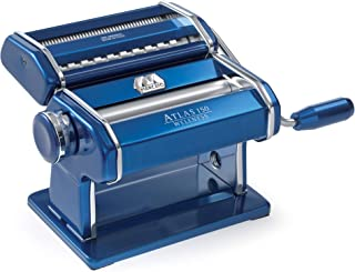 Marcato 8320BL Atlas 150 Pasta Machine, Made in Italy, Includes Cutter, Hand Crank, and Instructions, Blue