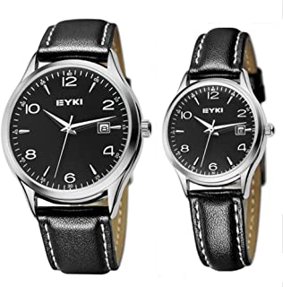 JIANGYUYAN Couple Watches Gold case Leather Watch for Men and Women he and her Watch,