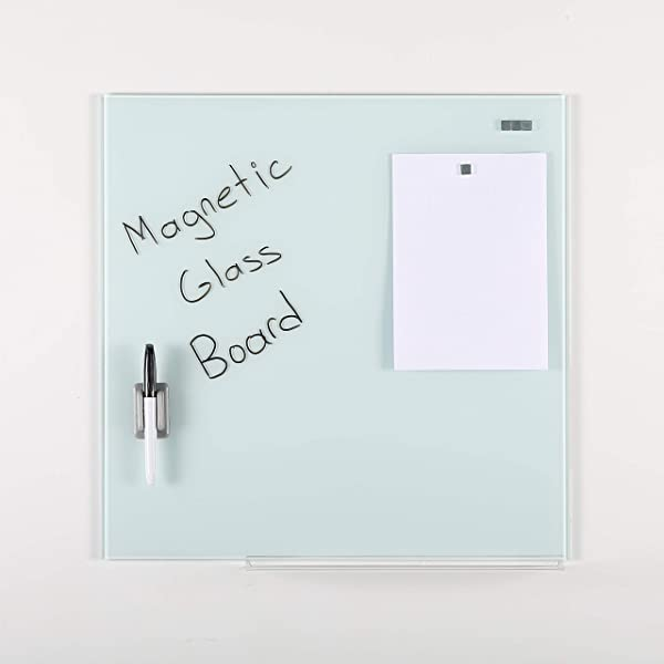 M T Displays Wall Mounted Magnetic Dry Erase Tempered Glass Write Board Set White 13 78 X 13 78 With A Pen 4 Magnetic Pins