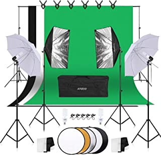 Andoer Photography Umbrellas Softbox Continuous Lighting Kit 800W 5500K - 6ft x 9ft Background Support System with 5in1 Reflector for Photo Studio Portrait and Video Shoot