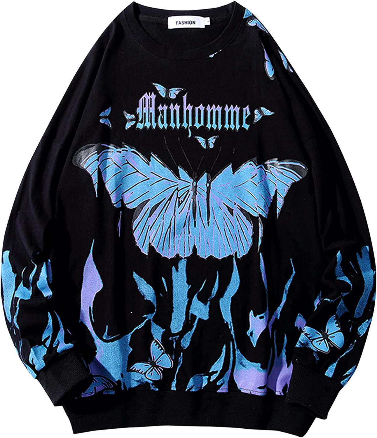 UBST Butterflies Sweatshirts for Mens, Fall Plus Size Drape Shoulder Young Teen Boys Fashion Crewneck Pullover Tops