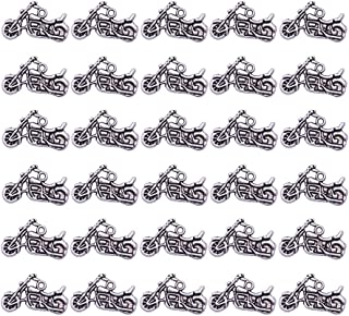 PH PandaHall 50pcs Antique Silver Motorbike Tibetan Alloy Charms Pendants Motorcycle Beads Charms for Valentines Day Thanksgiving Day Father's Day DIY Necklace Bracelet Making