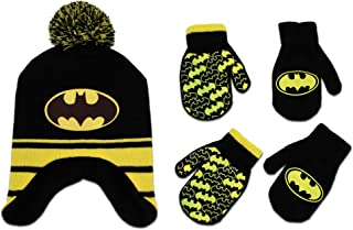 Toddler Boys Batman Hat and 2 Pair Mittens Cold Weather...