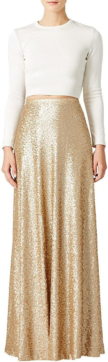 70s Disco Fashion: Disco Clothes, Outfits for Girls honey qiao Women's Maxi Wedding Party Skirts Gold Sequin Holiday Formal Skirt  AT vintagedancer.com