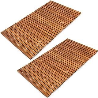 Deuba Set de 2 alfombras de baño de Madera de Acacia Clásico' pre-aceitada 80x50cm pies de Caucho Antideslizantes Ducha
