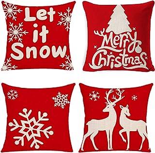 Yidaxing Funda De Almohada De Navidad, Feliz Navidad 4 Pack Encantador Papá Noel Alce Algodón Lino Throw Pillow Case Funda De Almohada para Cojín(45x45 Cm)