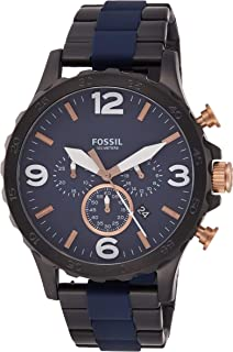 Fossil Nate Chronograph Blue Dial Dual Tone Stainless Steel  Watch for  Men - JR1494