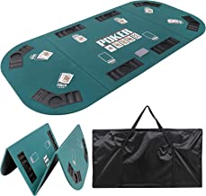 "Smartxchoices Foldable Poker Table Top 8 Player 71""x 35"" Poker Topper Cover Mat.."