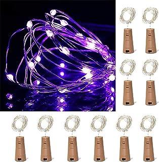 ZJDM Luces para Botellas de Vino, Paquete de 10, 10 Luces LED de Corcho con Pilas para decoración, Fiestas, Navidad, Hallo...