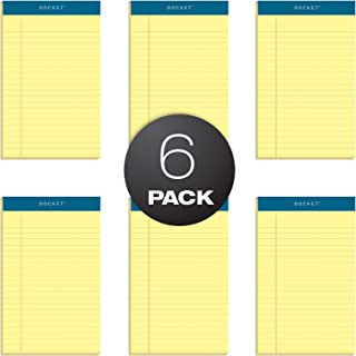 TOPS Docket Writing Tablet, 5 x 8 Inches, Perforated, Canary, Narrow Rule, 50 Sheets per Pad, 6 Pads per Pack (63351)