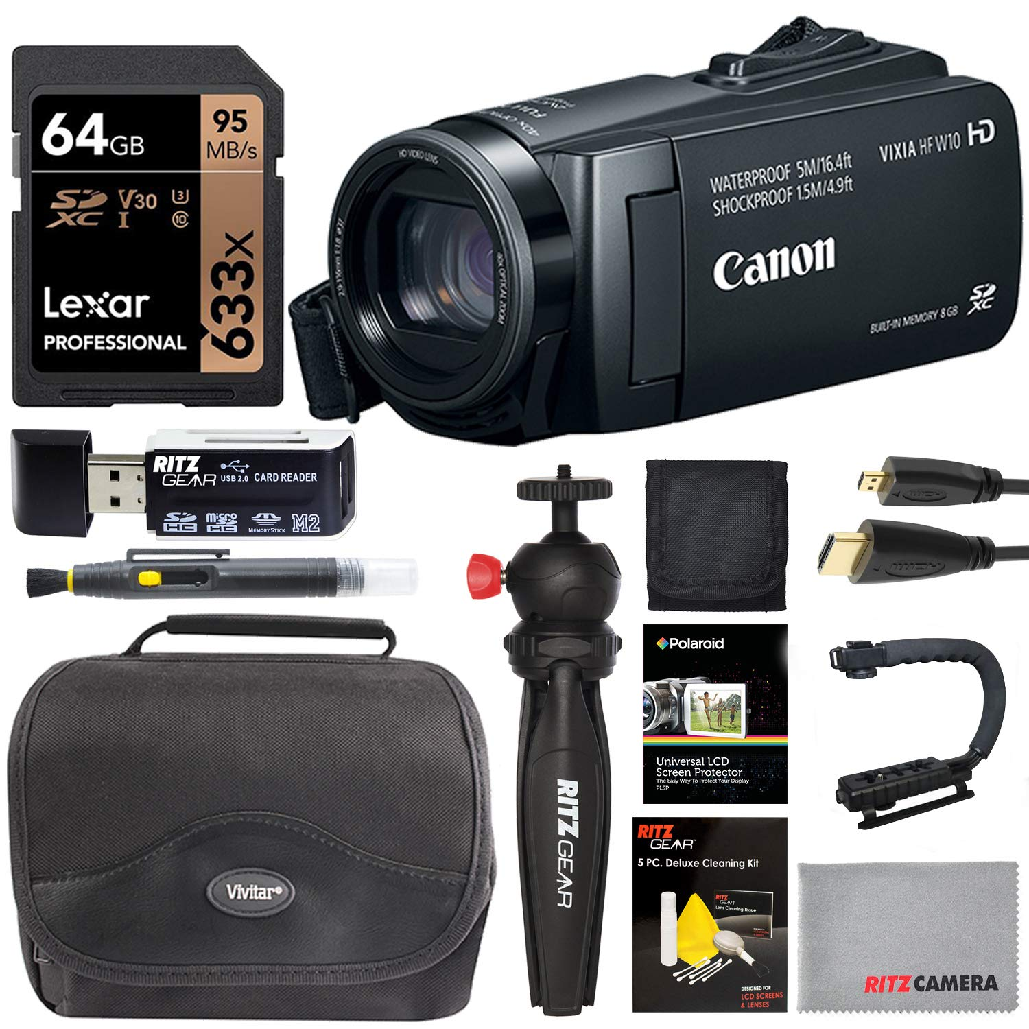 Canon VIXIA HF W10 Camcorder Full HD 1080p Waterproof Shockproof Dust and Freezeproof Video Camera Bundle with Deco Gear Photography Case Cleaning Kit Tripod UV Filter /& Microphone Deluxe Bundle