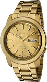 Men's SNKE56 Seiko 5 Automatic Gold Dial Gold-Tone Stainless Steel Watch