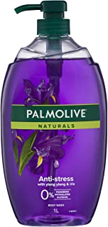 Palmolive Naturals Anti-Stress Body Wash With Ylang Ylang and Iris 0 percentage Parabens Recyclable, 1L