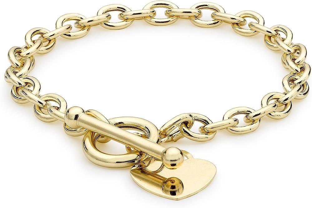 Carissima gold, bracciale per donna in oro giallo 9kt/375(7,5gr) con targhetta a forma di cuore ovale belcher 1.24.1473