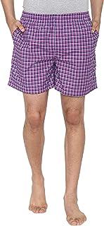 Men Classic Check - Prints Woven Boxer Shorts - Pink