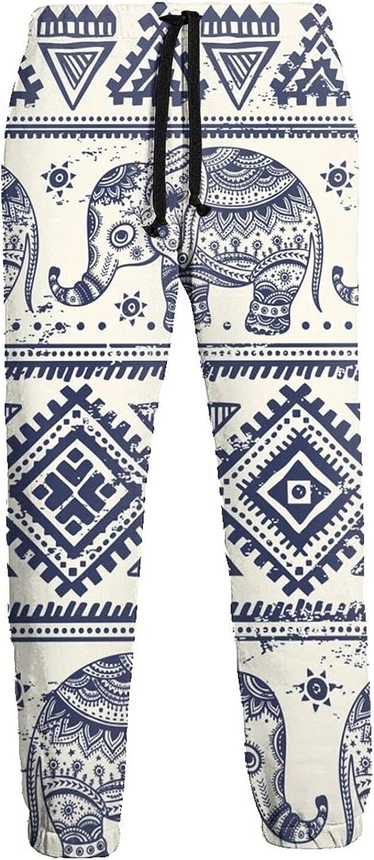 Mens Elastic Waist Sweatpants Ethnic Blue Elephant Joggers Sweatpants for Gym Training Sport Pants