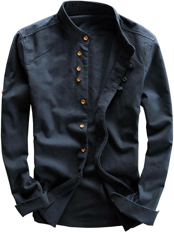Men's Linen Long Sleeve Shirt Solid Regular Fit Button Down Shirt Casual Standard-Fit Blouse Tops