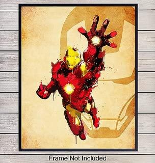 Iron Man Superheroes Wall Art Print - Home Decor for Boys, Kids Room or Den - Great Gift for Superman, Batman, Spiderman, Captain America, Wolverine, Marvel, DC Comic Books Fans- 8x10 photo - Unframed