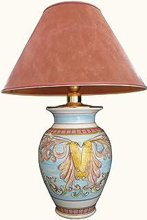Lampada in maiolica con paralume e gruppo elettrico Decoro Uccello del Paradiso - lampada cm. 21x21x30 h. paralume cm. 40x...
