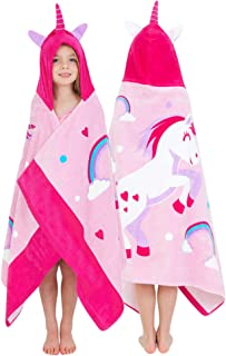 Yayme! Hooded Unicorn Bath Towel for Girls | Beach Towels Kids Towels Toddler Towel | Cotton Robe Perfect Beach Cover-up | Unicorn Costume for Girls | Poncho with a Hood or Bathrobe After a Bath