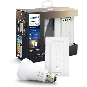 Philips Hue Bombilla Inteligente LED E27, 9.5 W y Mando, Luz ...