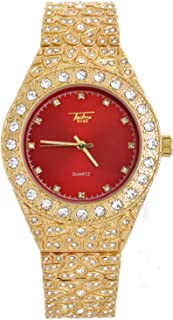 Men's Hip Hop Iced Gold Plated Nugget Metal Band Watches WM 8717 GRD