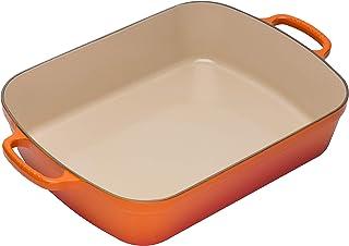 Le Creuset Evolution Bandeja Rectangular, Todas las fuentes de calor incl. inducción, 4,9 l, Hierro fundido, Naranja(Volcánico), 33 cm