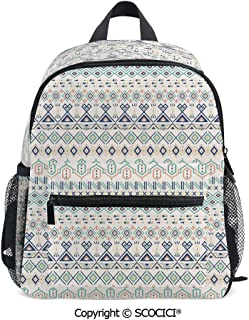 SCOCICI Kids School Book Bags Aztec Motifs Triangles Suitable for 3-8 Years Old