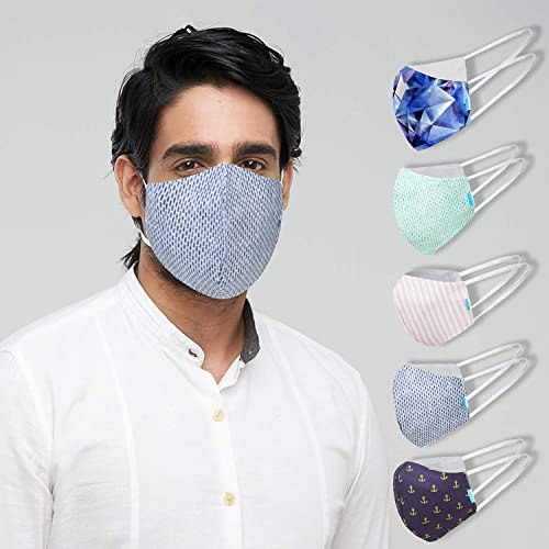 Welspun Health Anti Bacterial Reuseable Cotton Mask 10Pc With Free Mask Adjuster