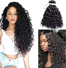 Brazilian Hair Water Wave Virgin Hair Bundles 100% Human Hair Bundles Curly Wave Hair Extensions Brazilian Human Hair 3 Bundles Wet and Wavy Human Hair Weave Bundles Natural Black 24 26 28 Inch