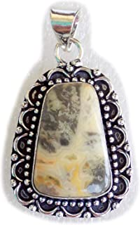Bumble Bee Jasper Pendant, Silver Plated Brass Pendant, Handmade Pendant, Gift Jewelry, Women Jewellry, Fashion Jewellry, ...