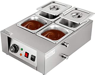 Happybuy 1000W Electric Chocolate Melting Pot Machine, 4 Tanks Commercial Electric Chocolate Heater,17.6LBS Capacity Therm...