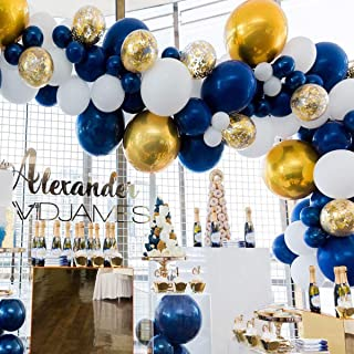 Raiow 80 pcs Navy Party Balloons,12 inch Metallic Sea Blue/Pearl White/Gold Latex Balloon and Confetti Balloons for Boys Birthday Party Baby Shower Navy Party Decoration