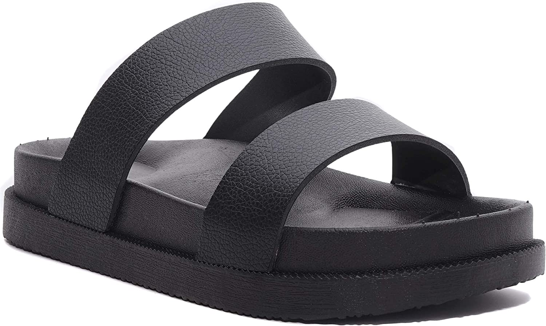 Charles Albert Women's Two Strap Vegan Leather Slide Sandal