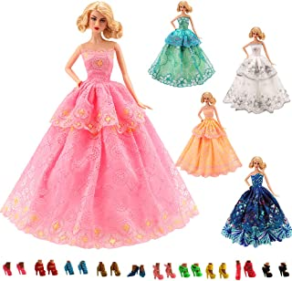 Barwa 15 Items = 5 Pcs Quality Fashion Dresses Clothes 10 Shoes for 11.5 Inch Doll Gift