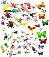 "OOTSR 39pcs Bug Toy Figures for Kids Boys, 2-6"" Fake Bugs - Fake Spiders, Cockroaches, Scorpions, Crickets, Lady Bugs, Butterflies and Worms for Education and Christmas Party Favors"