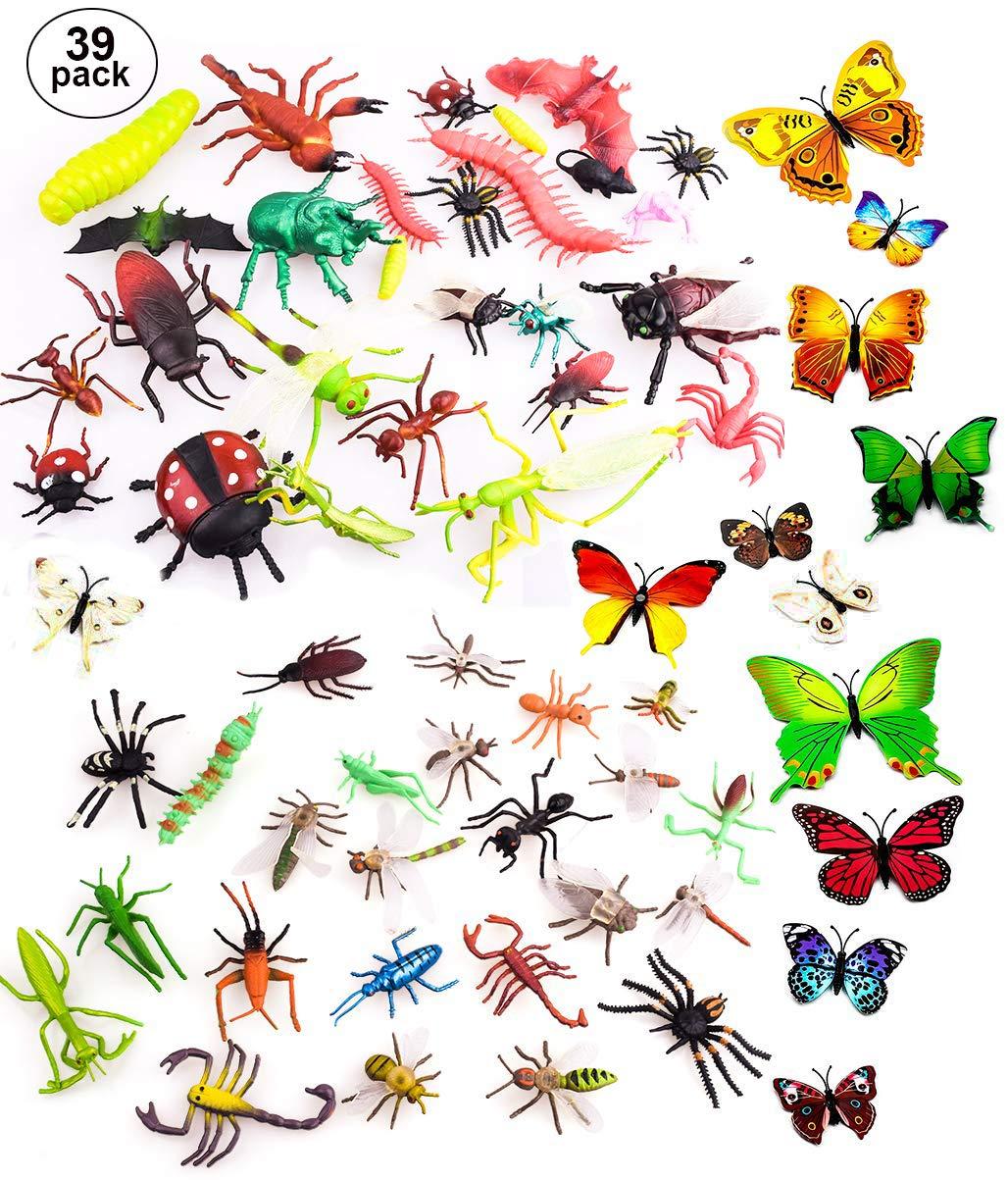 OOTSR 39pcs Insectos e Insectos de plástico para niños, Figuras de Insectos Juguetes con Pegatina de Pared Colorida Mariposa para educación/Juguetes de Halloween/Fiestas temáticas/Regalos cumpleaños: Amazon.es: Juguetes y juegos