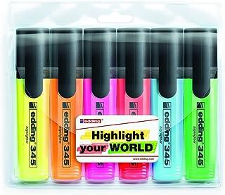 edding 345 Surligneur rechargeable - pointe biseautée 2 à 5 mm - Set de 6 surligneurs - jaune, orange, rose, rouge, bleu e...