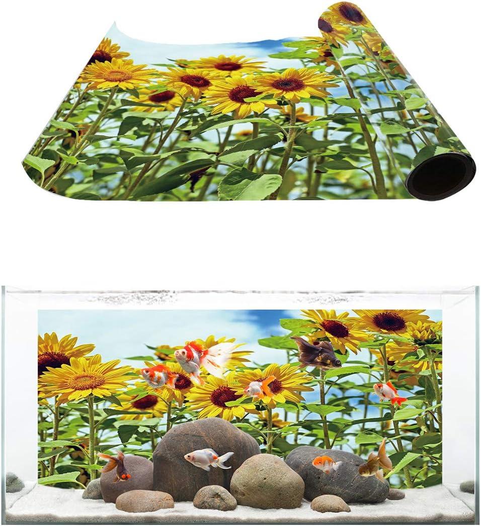 Large discharge sale Fantasy Staring Aquarium Background Sunflower Sky Blue Field Wholesale Fis
