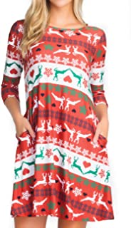 Women's Printed Crew Neck A-Line Dresses with Pockets Casual Tropical Floral Novelty Animal Christmas Patterns