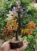 FASHIONZAADI Handmade Seven Chakra Tree | Stone Trees Feng Shui Bonsai Money Crystal | Sacral Chakra Healing | Throat Chakra | Feng Shui Home Decor Size 10-12 Inch