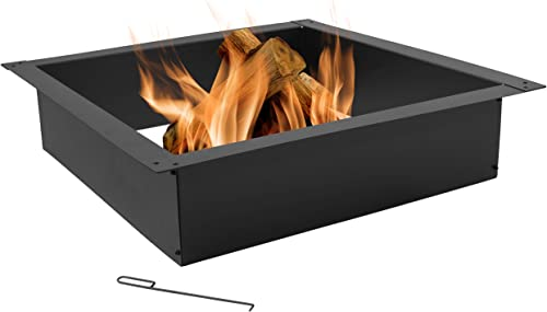 lowest Sunnydaze Fire Pit Ring - Outdoor sale Large Square Insert - lowest DIY Firepit Rim Liner - Above or In-Ground - Heavy-Duty 2.0mm Steel - 42-Inch Square Outside x 36-Inch Square Inside Dimensions online sale