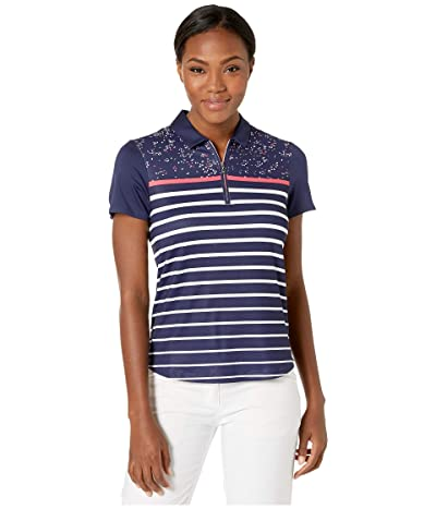 Callaway Mini Print Short Sleeve Striped Polo (Peacoat) Women