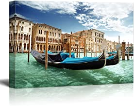 Canvas Prints Wall Art - Beautiful Scenery/Landscape Gondolas in Venice, Italy   Modern Wall Decor/Home Decoration Stretched Gallery Canvas Wrap Giclee Print & Ready to Hang - 16