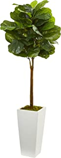 Nearly Natural Artificial 4' Fiddle Leaf Tree in White Tower Planter, Green