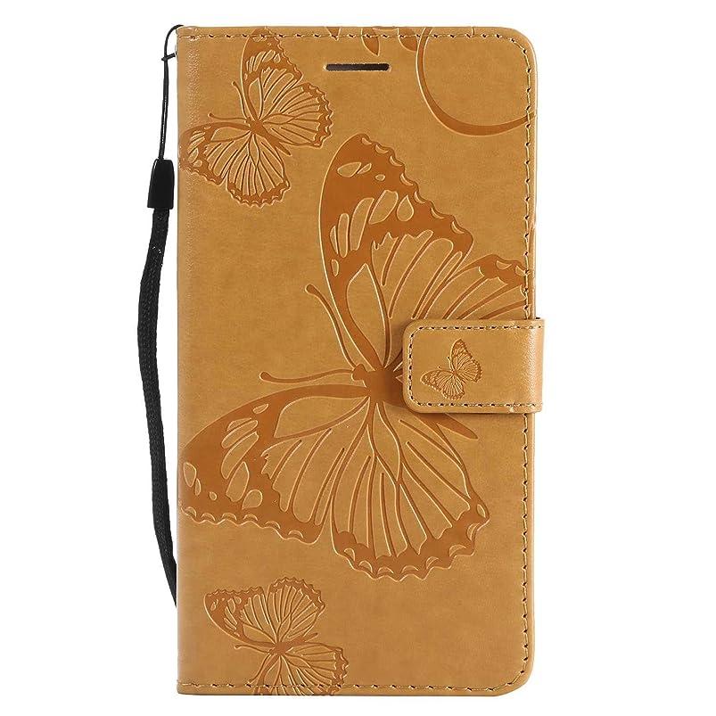 一回その間遷移CUSKING Galaxy Note 3 ケース Galaxy Note 3 カバー ギャラクシ 手帳ケース カードポケット スタンド機能 蝶柄 スマホケース かわいい レザー 手帳 - 黄