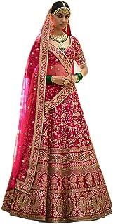 MEGHALYA® Women's Raw Silk Semi-stitched Lehenga Choli (Arya S805_Pink_Free Size)