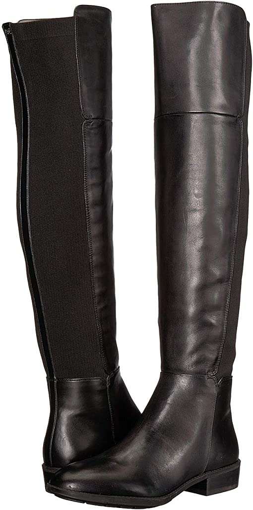 Black Leather Modena Calf Leather/Ribbed Stretch Knit