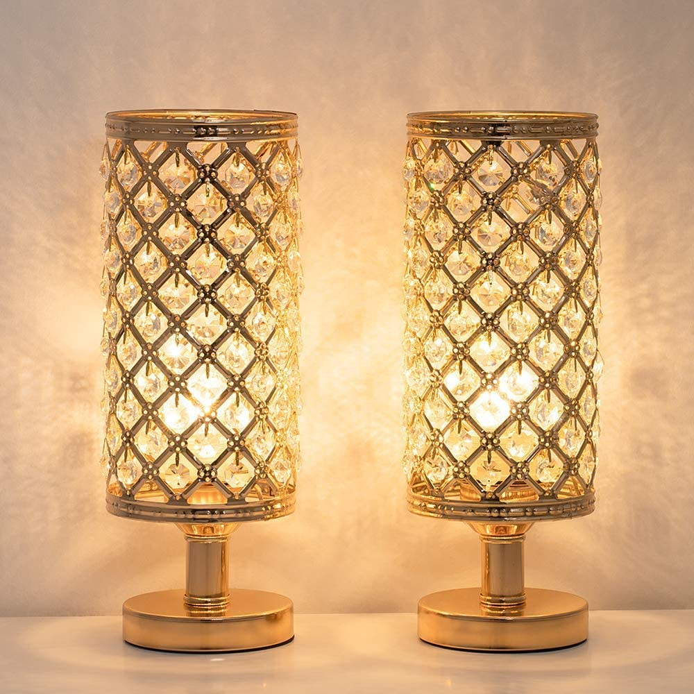 Fees free!! HAITRAL Crystal Table Lamp Set of Bedside Elegant Decorative - Super special price 2